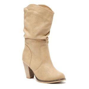 Light Beige Heeled Boots